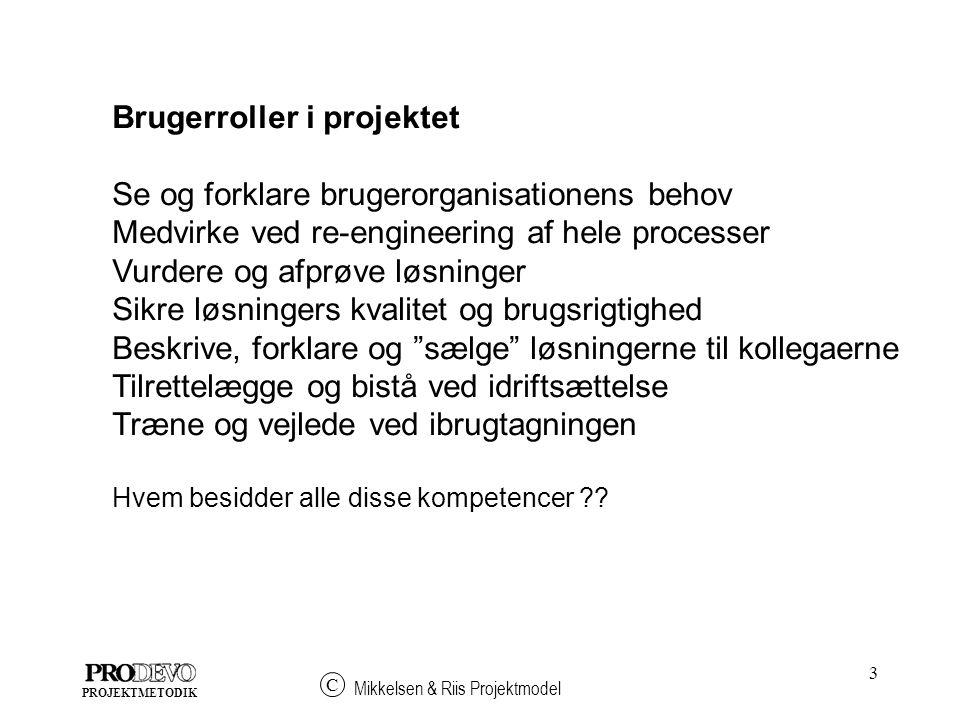 Brugerroller i projektet Se og forklare brugerorganisationens behov