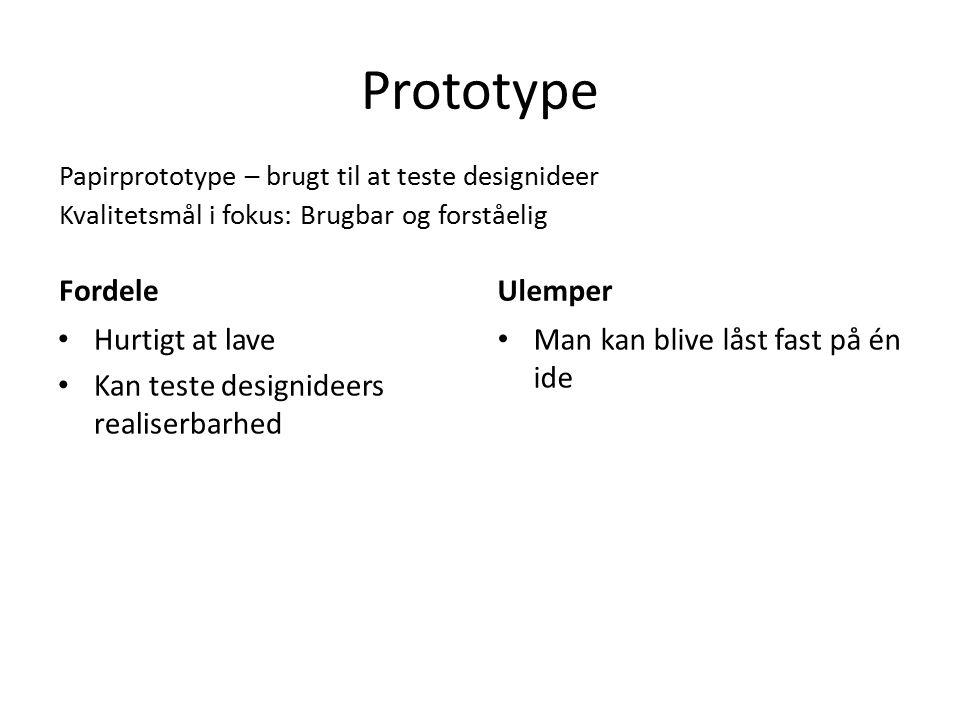 Prototype Fordele Ulemper Hurtigt at lave
