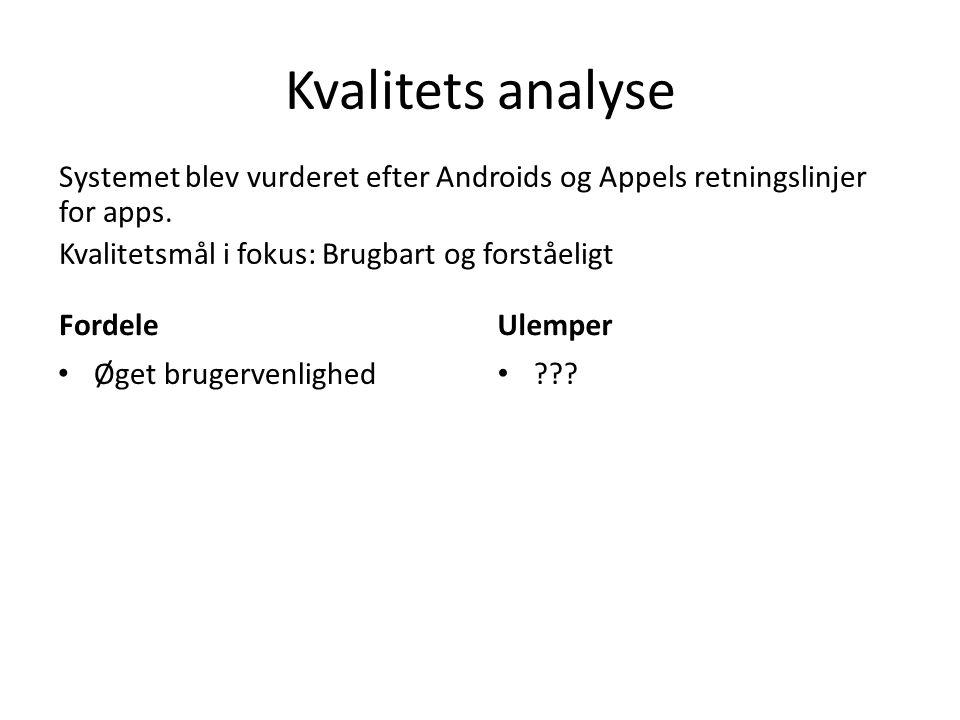 Kvalitets analyse Systemet blev vurderet efter Androids og Appels retningslinjer for apps. Kvalitetsmål i fokus: Brugbart og forståeligt.