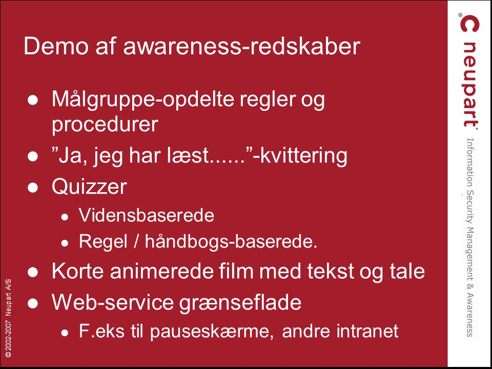 Demo af awareness-redskaber