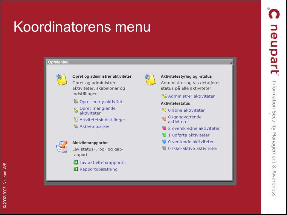 Koordinatorens menu
