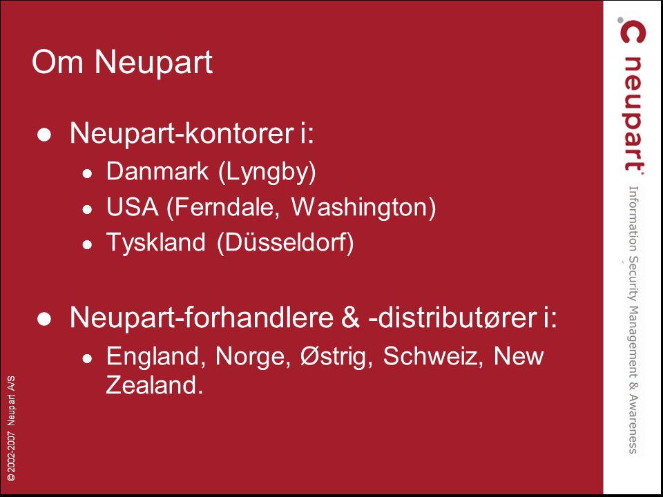 Om Neupart Neupart-kontorer i: Neupart-forhandlere & -distributører i: