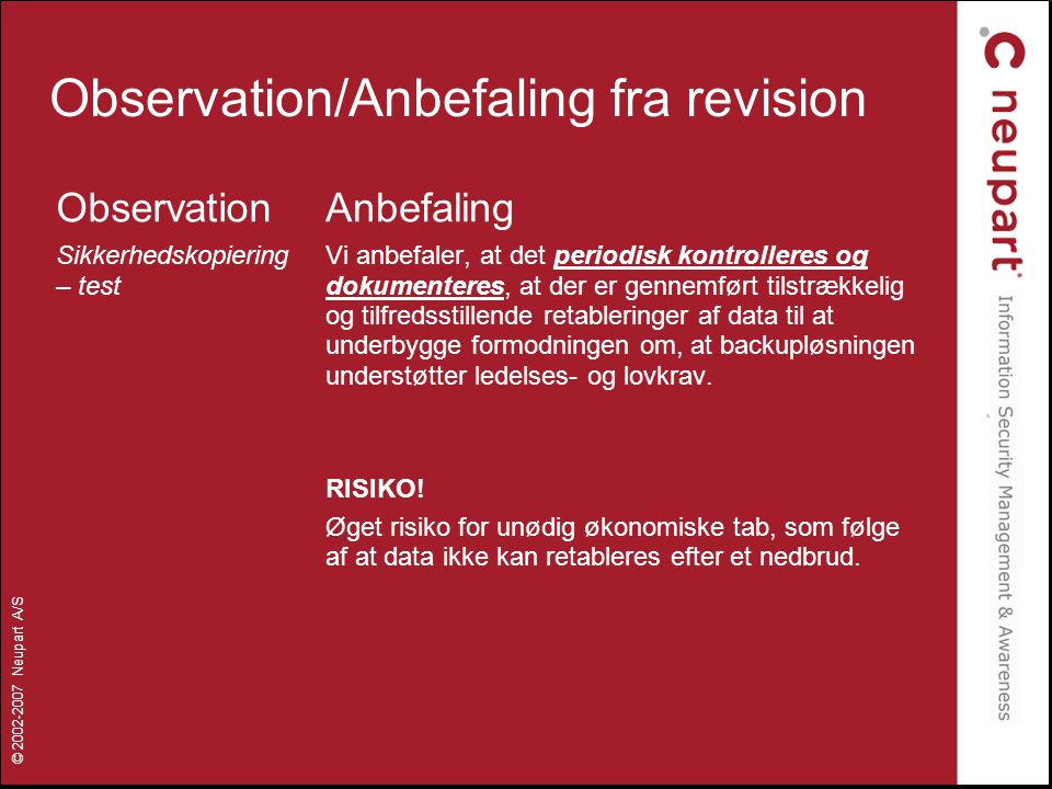 Observation/Anbefaling fra revision