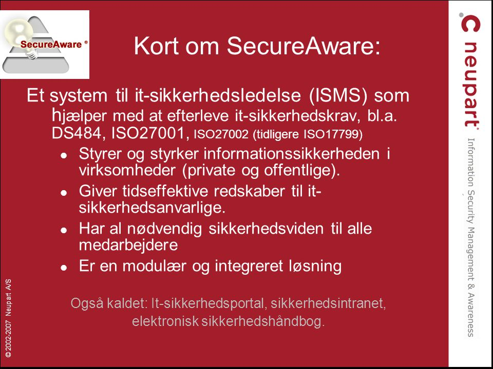 Kort om SecureAware: