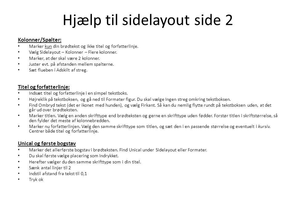Hjælp til sidelayout side 2