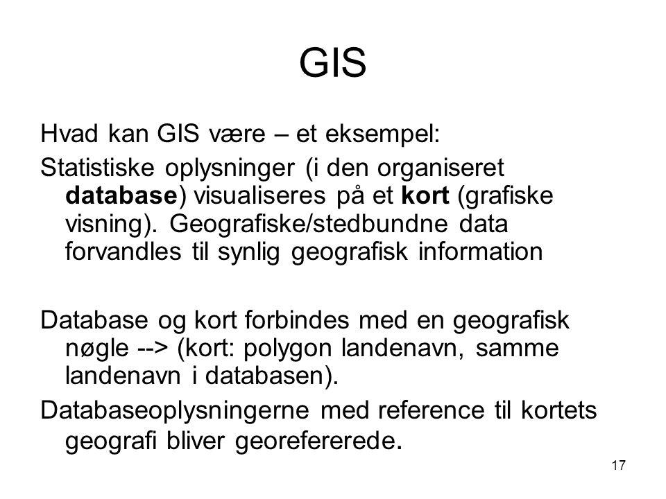 GIS Hvad kan GIS være – et eksempel: