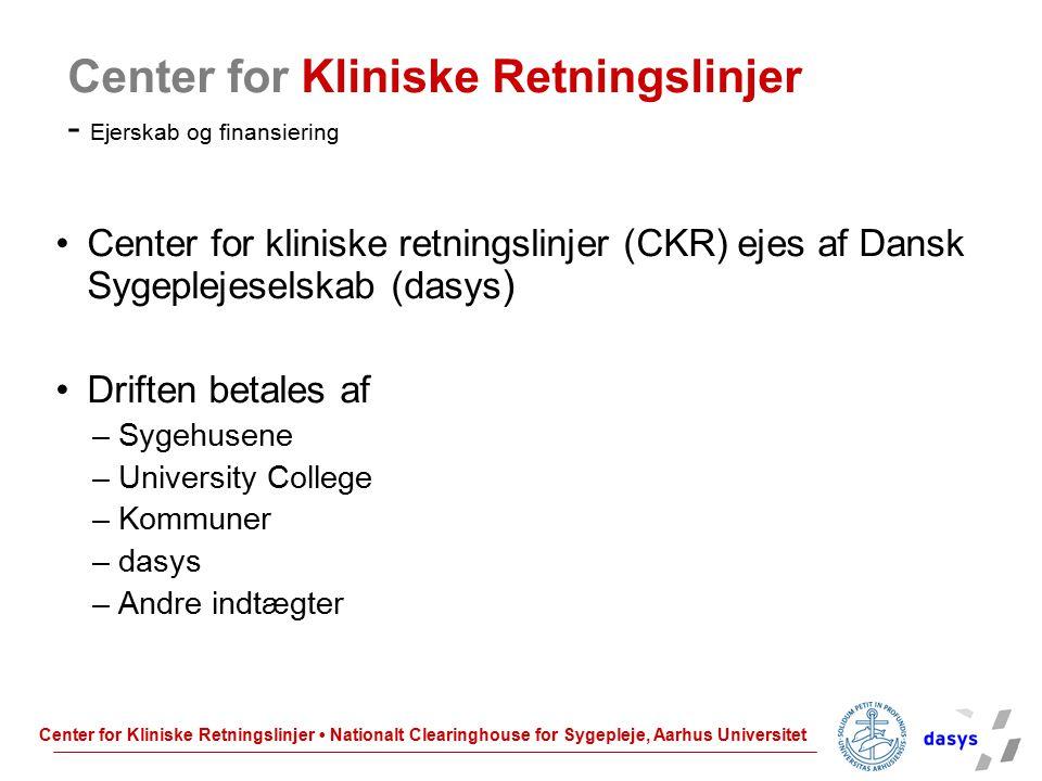 Center for Kliniske Retningslinjer - Ejerskab og finansiering