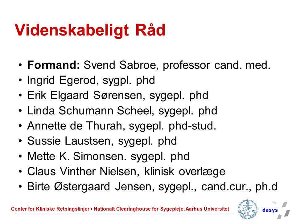 Videnskabeligt Råd Formand: Svend Sabroe, professor cand. med.
