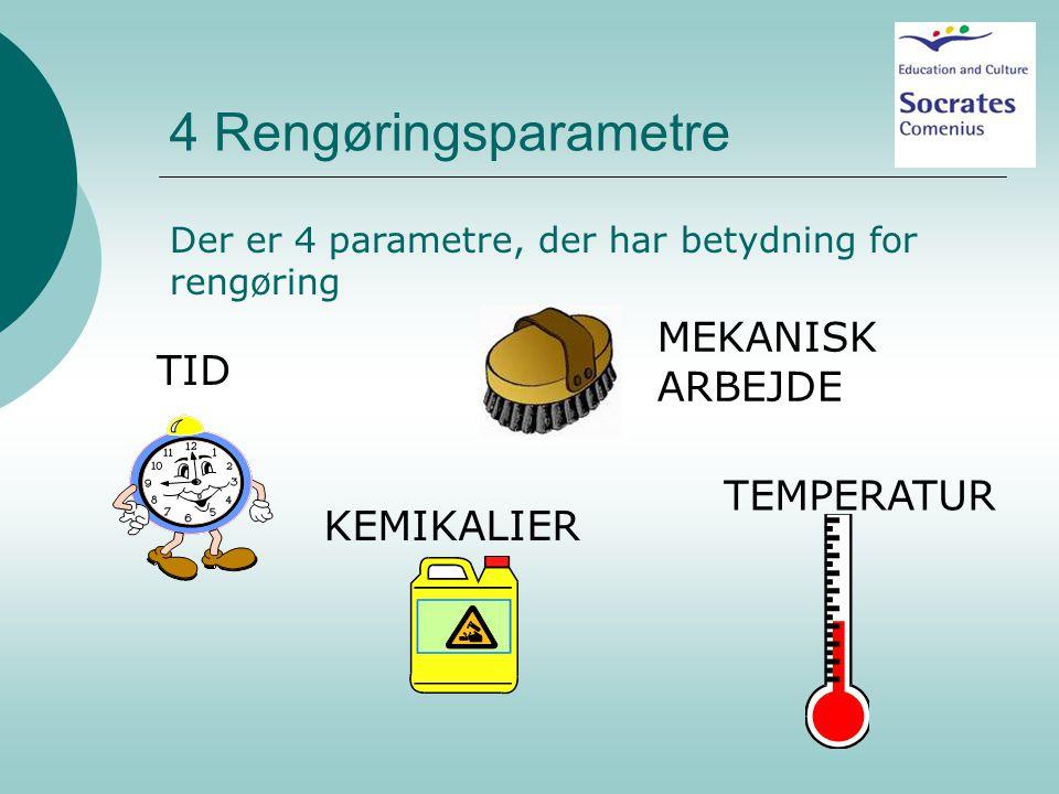 4 Rengøringsparametre MEKANISK ARBEJDE TID TEMPERATUR KEMIKALIER