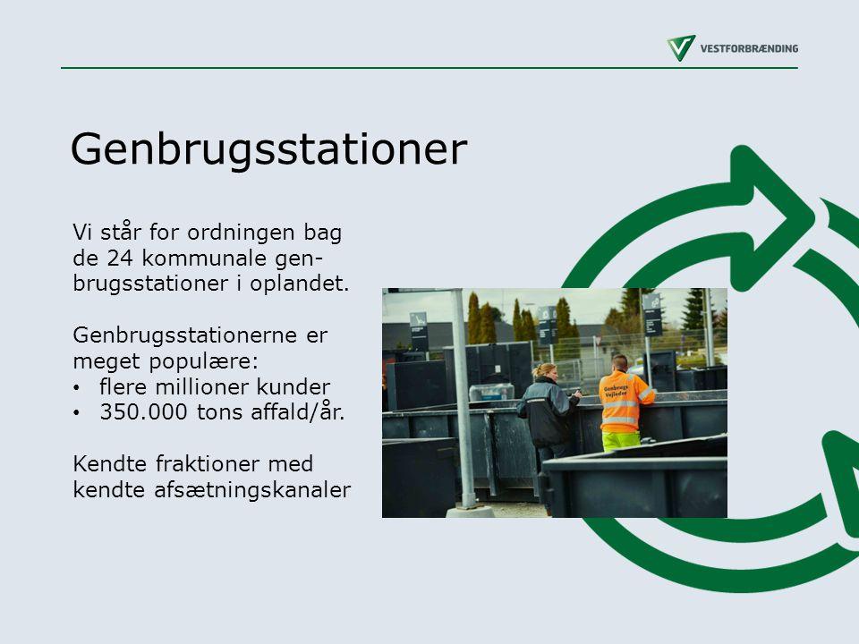 Genbrugsstationer Vi står for ordningen bag de 24 kommunale gen-brugsstationer i oplandet. Genbrugsstationerne er meget populære: