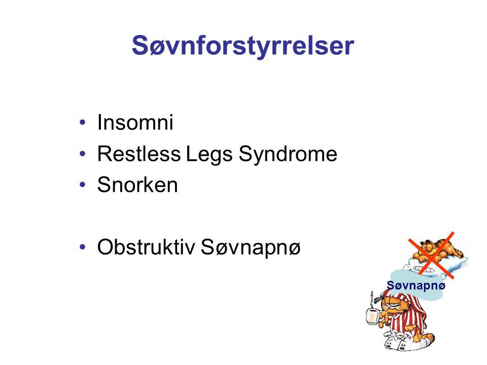 Søvnforstyrrelser Insomni Restless Legs Syndrome Snorken