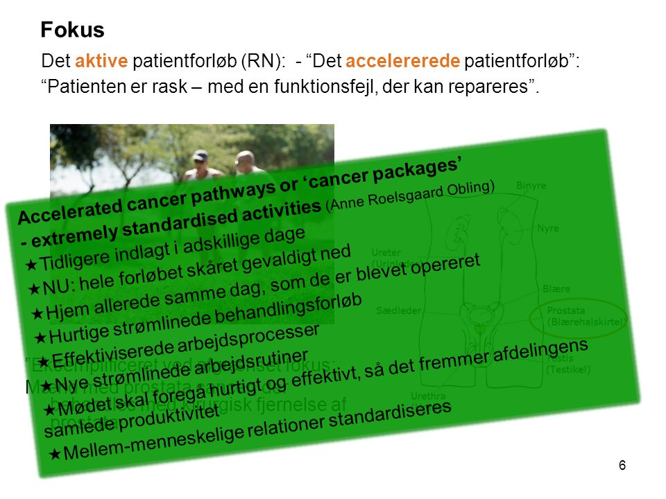 Fokus Det aktive patientforløb (RN): - Det accelererede patientforløb : Patienten er rask – med en funktionsfejl, der kan repareres .