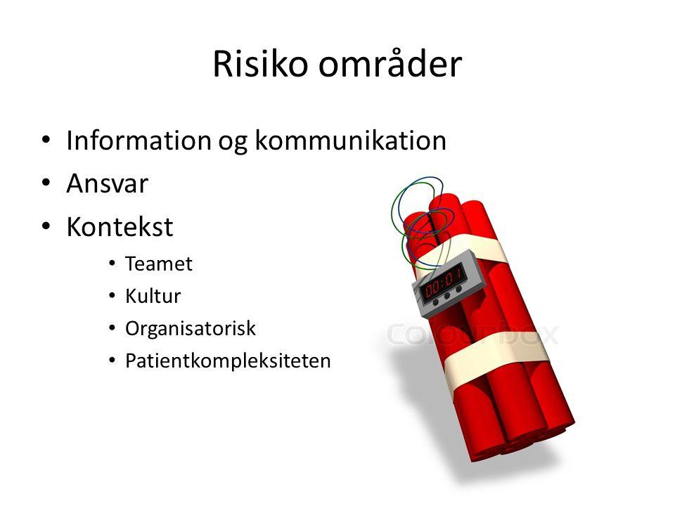 Risiko områder Information og kommunikation Ansvar Kontekst Teamet