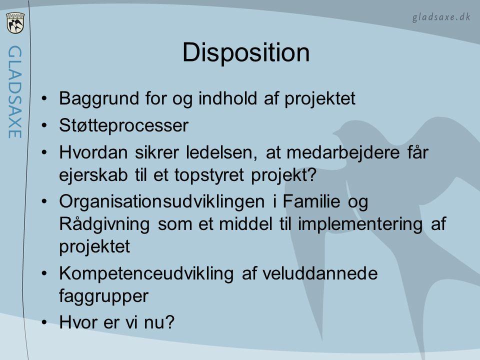 Disposition Baggrund for og indhold af projektet Støtteprocesser