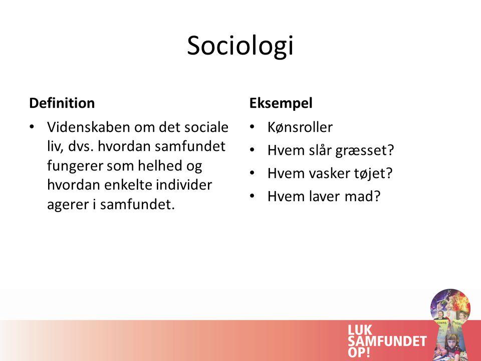 Sociologi Definition Eksempel