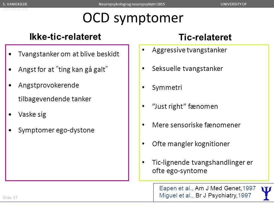 OCD symptomer Ikke-tic-relateret Tic-relateret