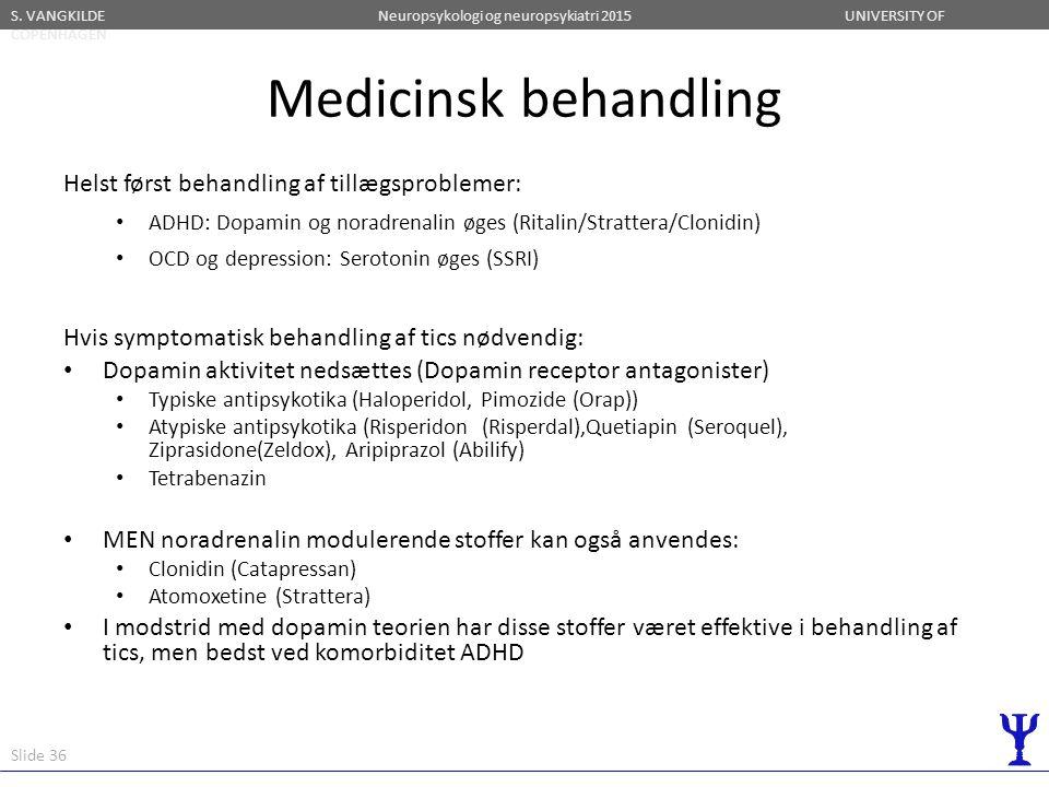 Medicinsk behandling Helst først behandling af tillægsproblemer: