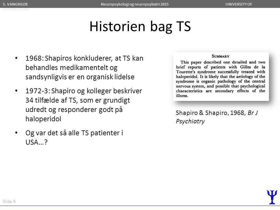 Historien bag TS 1968: Shapiros konkluderer, at TS kan behandles medikamentelt og sandsynligvis er en organisk lidelse.