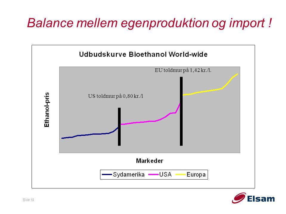 Balance mellem egenproduktion og import !