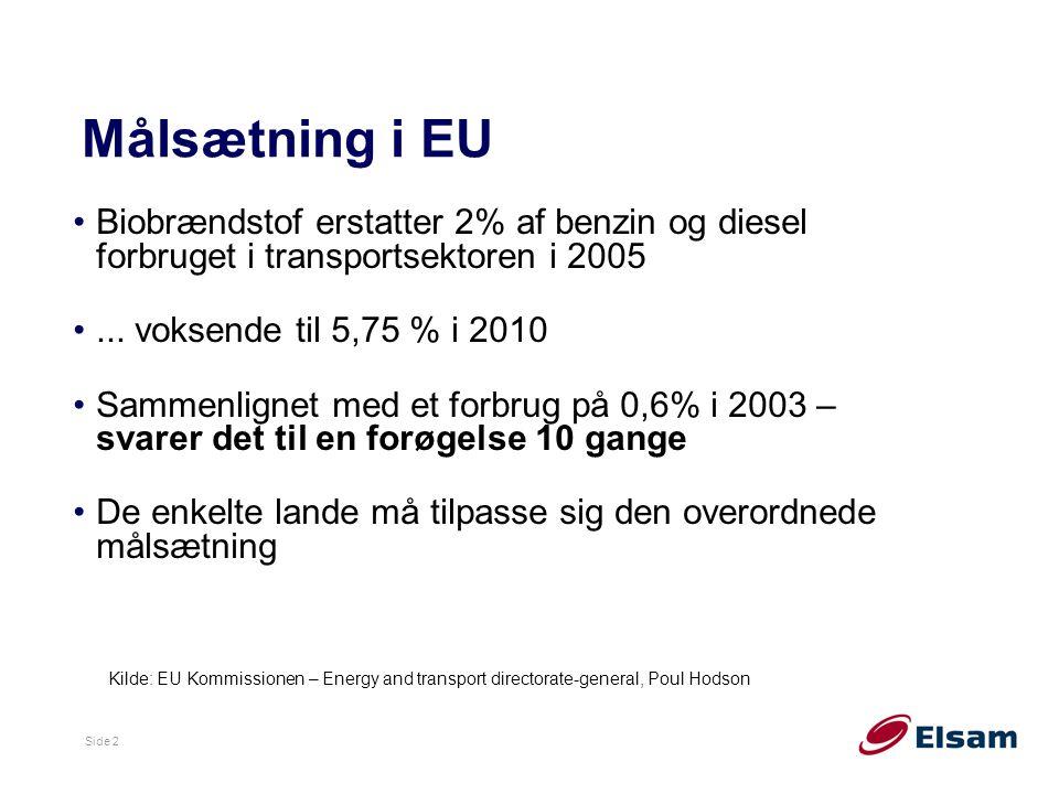 Målsætning i EU Biobrændstof erstatter 2% af benzin og diesel forbruget i transportsektoren i 2005.