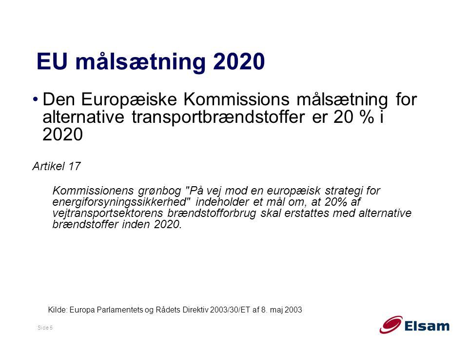 EU målsætning 2020 Den Europæiske Kommissions målsætning for alternative transportbrændstoffer er 20 % i 2020.