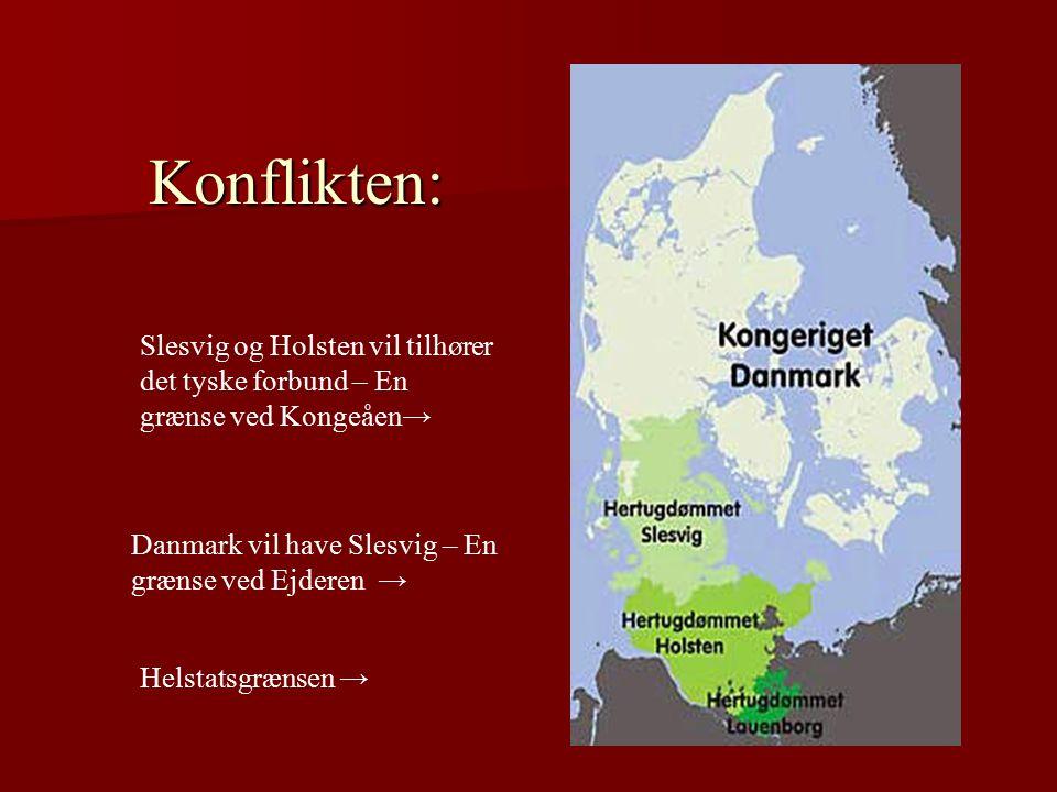 Konflikten: Slesvig og Holsten vil tilhører det tyske forbund – En grænse ved Kongeåen→