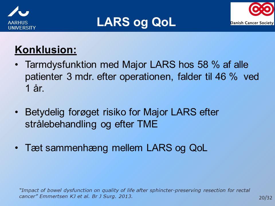 LARS og QoL Konklusion: