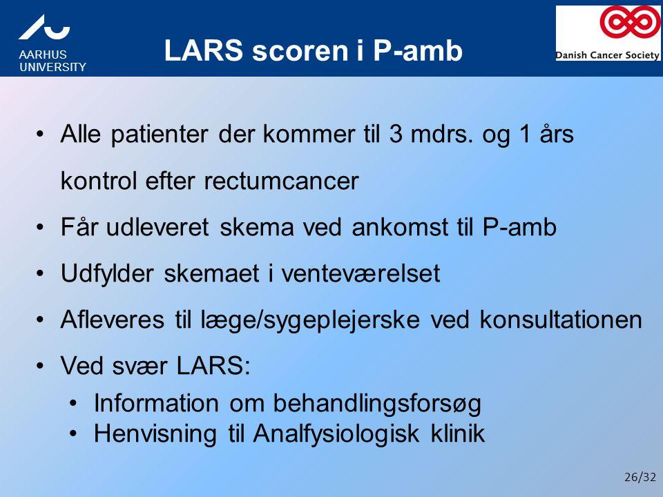 LARS scoren i P-amb Alle patienter der kommer til 3 mdrs. og 1 års kontrol efter rectumcancer. Får udleveret skema ved ankomst til P-amb.