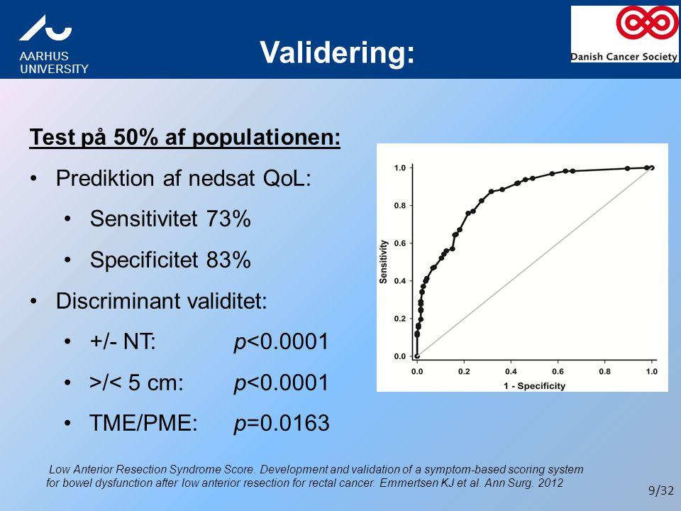 Validering: Test på 50% af populationen: Prediktion af nedsat QoL:
