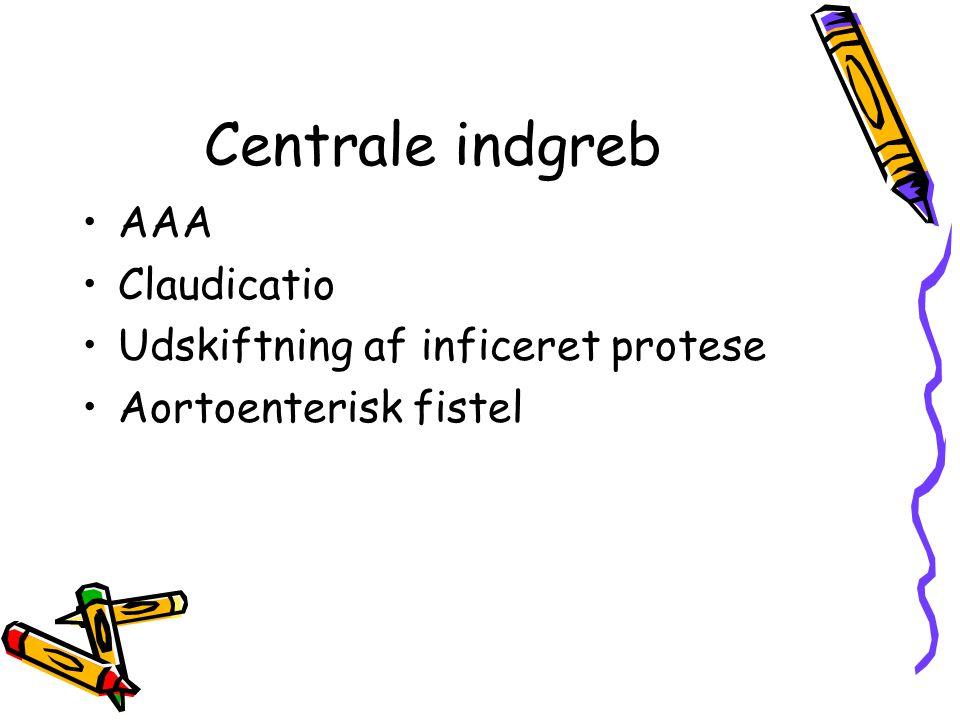 Centrale indgreb AAA Claudicatio Udskiftning af inficeret protese