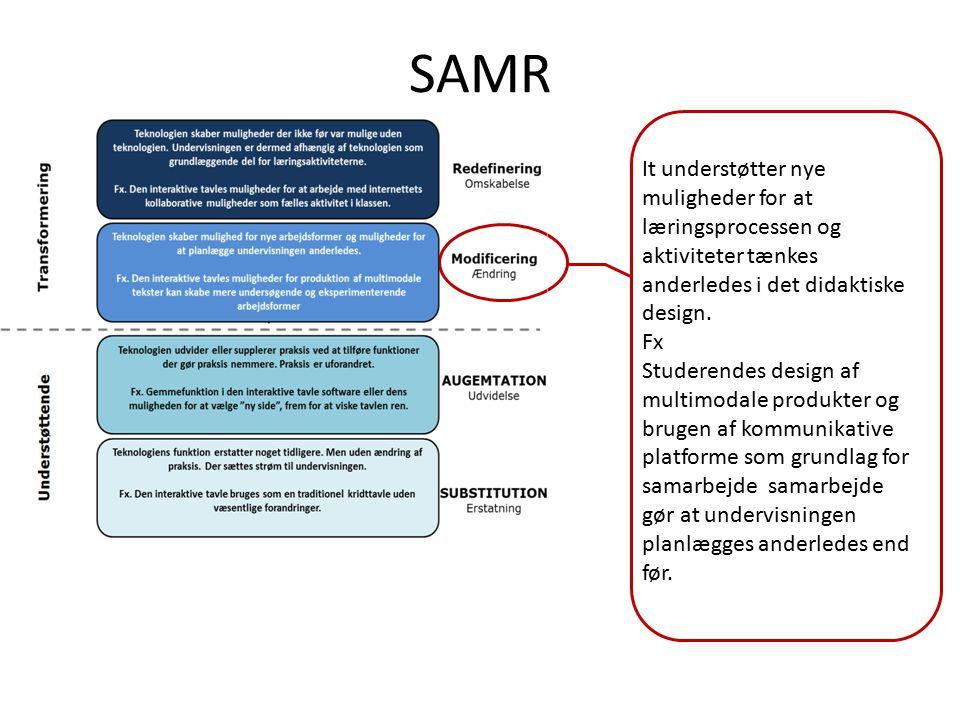 SAMR It understøtter nye muligheder for at læringsprocessen og aktiviteter tænkes anderledes i det didaktiske design.