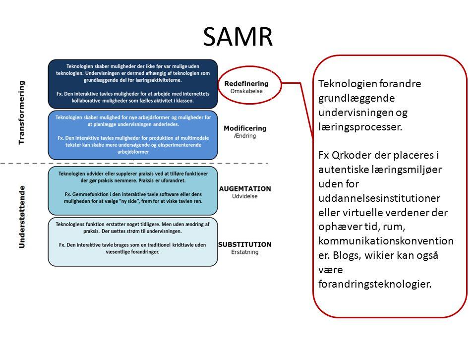 SAMR Teknologien forandre grundlæggende undervisningen og læringsprocesser.