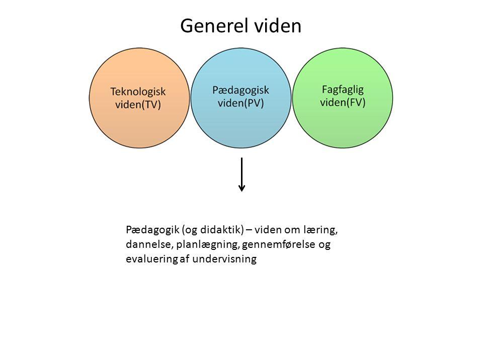 Generel viden Pædagogik (og didaktik) – viden om læring, dannelse, planlægning, gennemførelse og evaluering af undervisning.