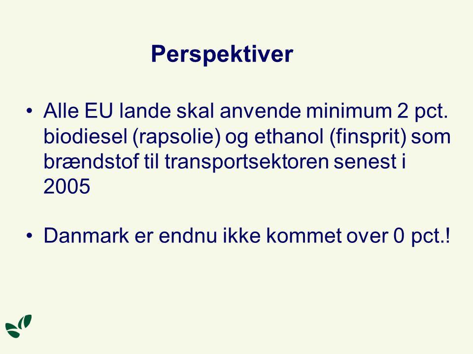 Perspektiver Alle EU lande skal anvende minimum 2 pct. biodiesel (rapsolie) og ethanol (finsprit) som brændstof til transportsektoren senest i 2005.