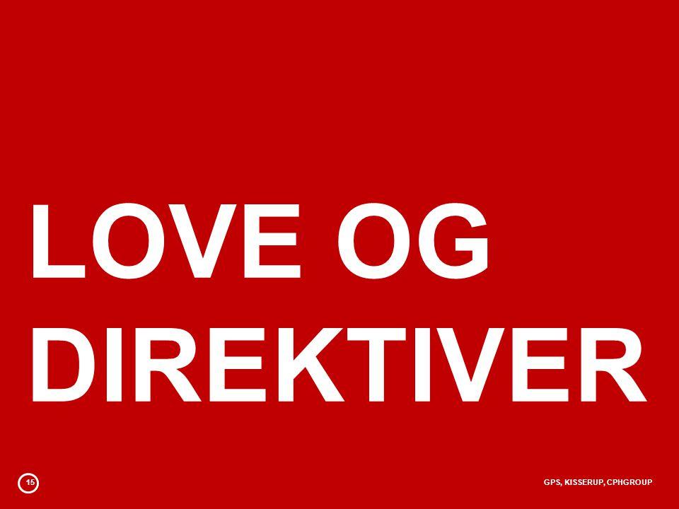 LOVE OG DIREKTIVER 15 GPS, KISSERUP, CPHGROUP