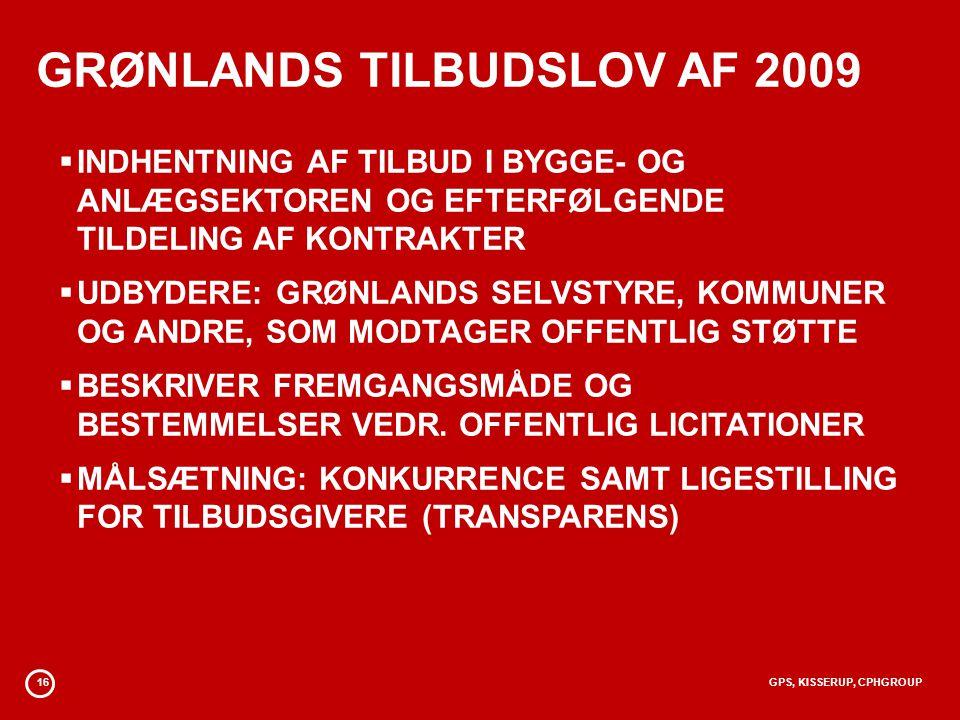 GRØNLANDS TILBUDSLOV AF 2009