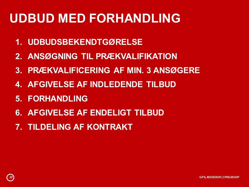 UDBUD MED FORHANDLING UDBUDSBEKENDTGØRELSE