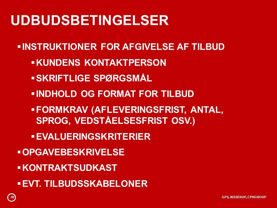 UDBUDSBETINGELSER INSTRUKTIONER FOR AFGIVELSE AF TILBUD