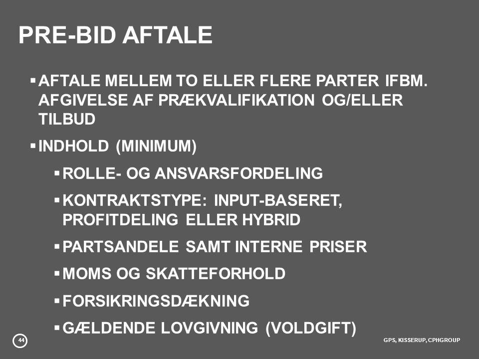 PRE-BID AFTALE AFTALE MELLEM TO ELLER FLERE PARTER IFBM. AFGIVELSE AF PRÆKVALIFIKATION OG/ELLER TILBUD.