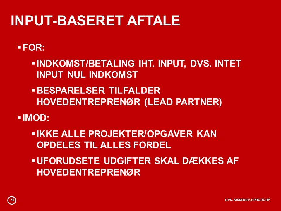 INPUT-BASERET AFTALE FOR: