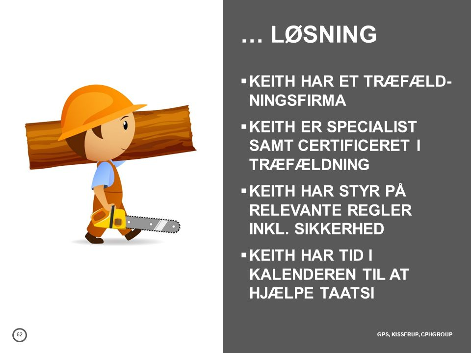 … LØSNING KEITH HAR ET TRÆFÆLD- NINGSFIRMA