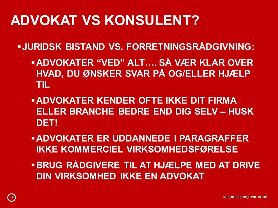 ADVOKAT VS KONSULENT JURIDSK BISTAND VS. FORRETNINGSRÅDGIVNING: