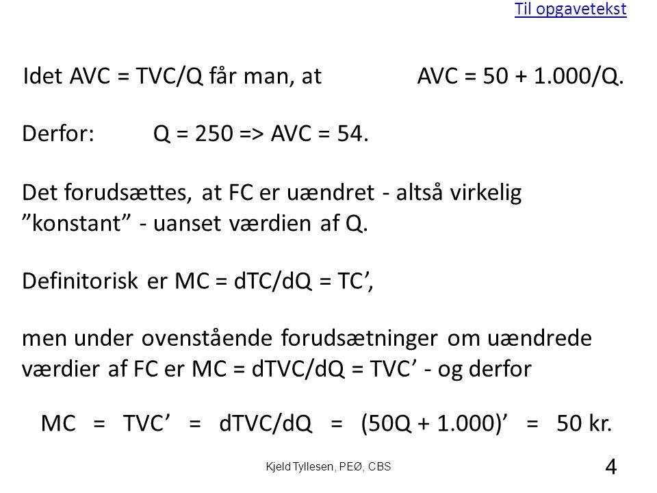 MC = TVC' = dTVC/dQ = (50Q + 1.000)' = 50 kr.