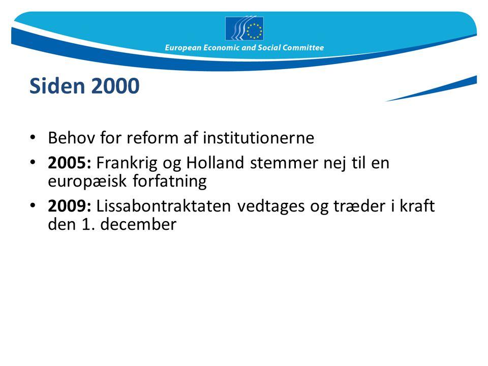Siden 2000 Behov for reform af institutionerne
