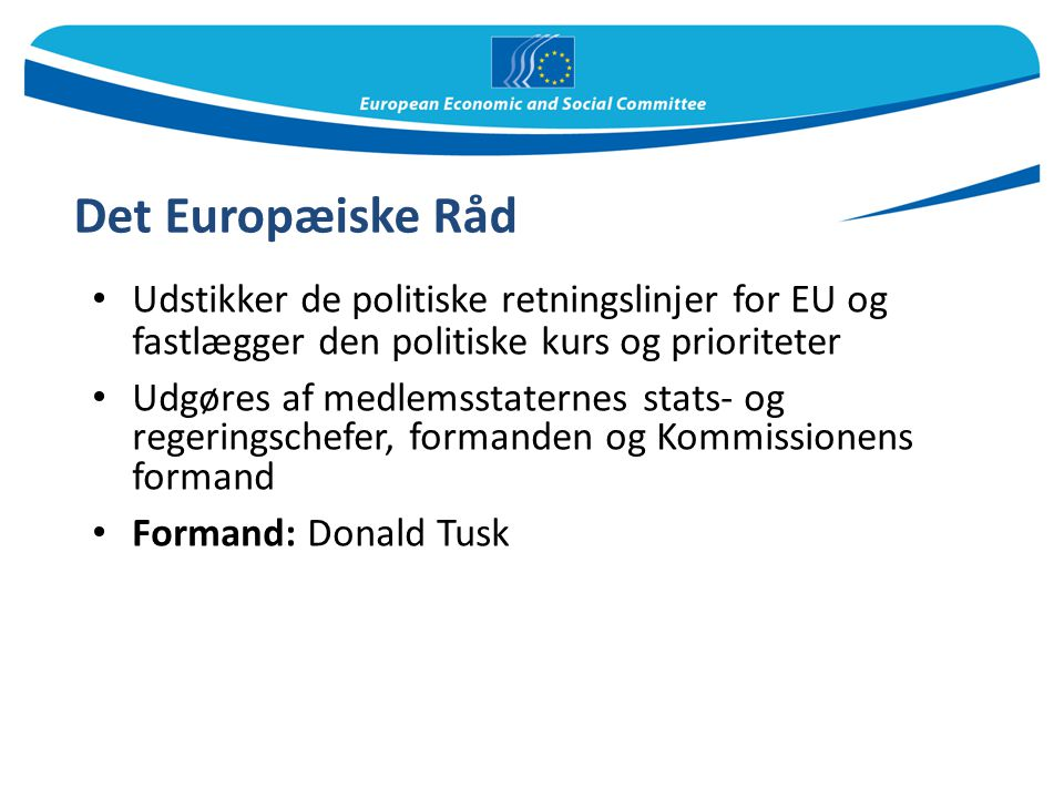 Det Europæiske Råd Udstikker de politiske retningslinjer for EU og fastlægger den politiske kurs og prioriteter.