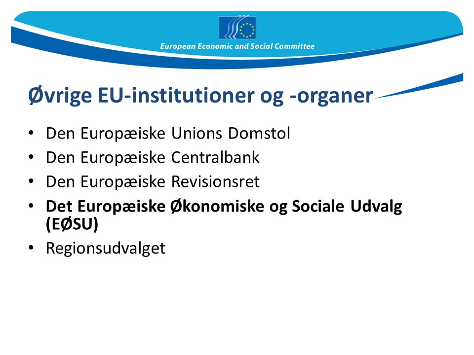 Øvrige EU-institutioner og -organer