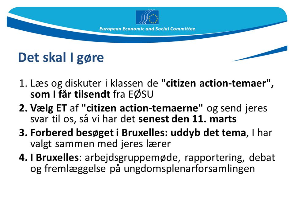 Det skal I gøre Læs og diskuter i klassen de citizen action-temaer , som I får tilsendt fra EØSU.