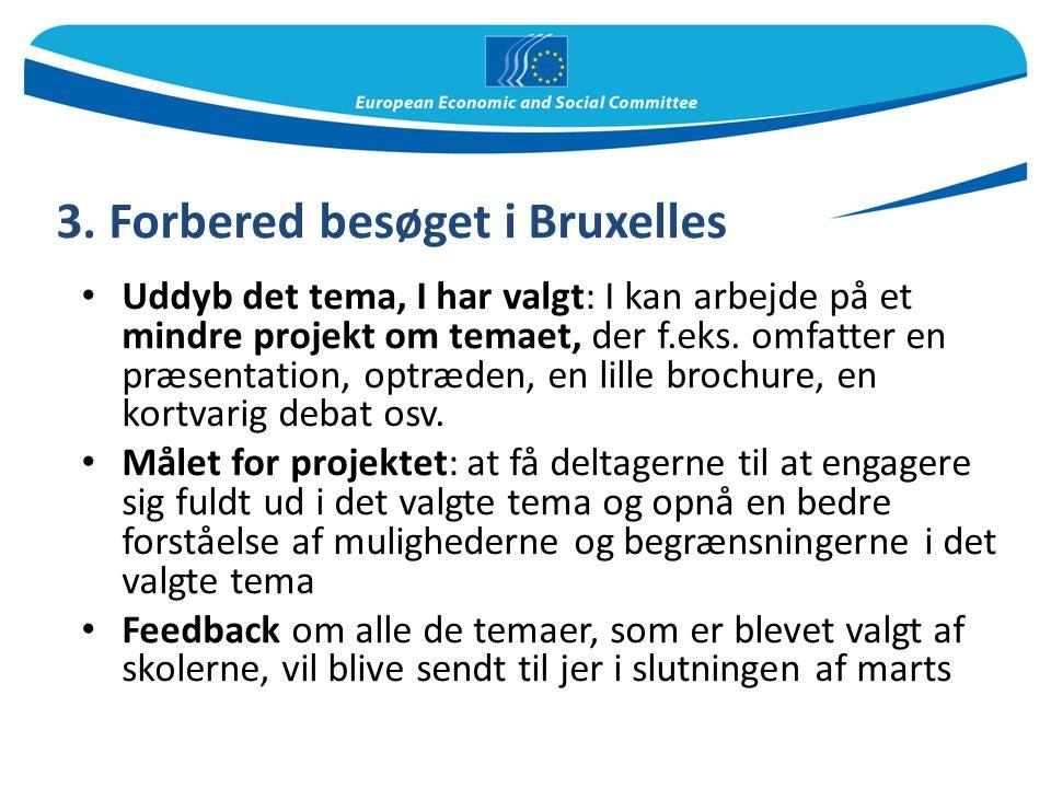 3. Forbered besøget i Bruxelles