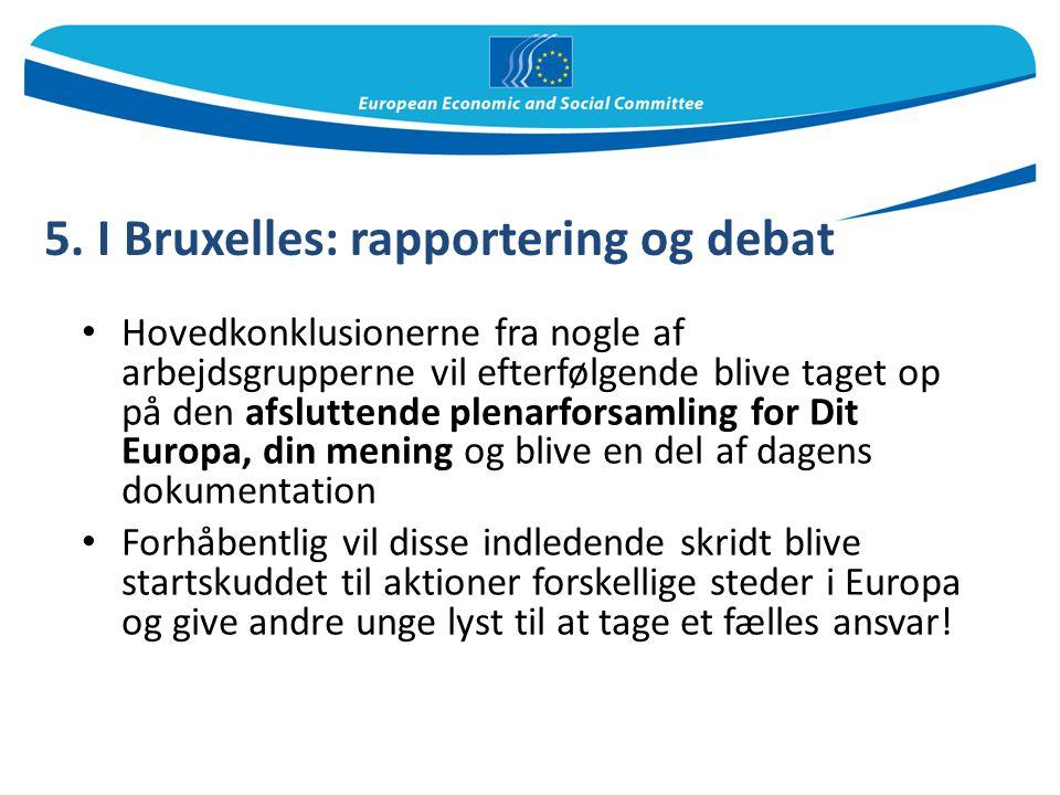 5. I Bruxelles: rapportering og debat