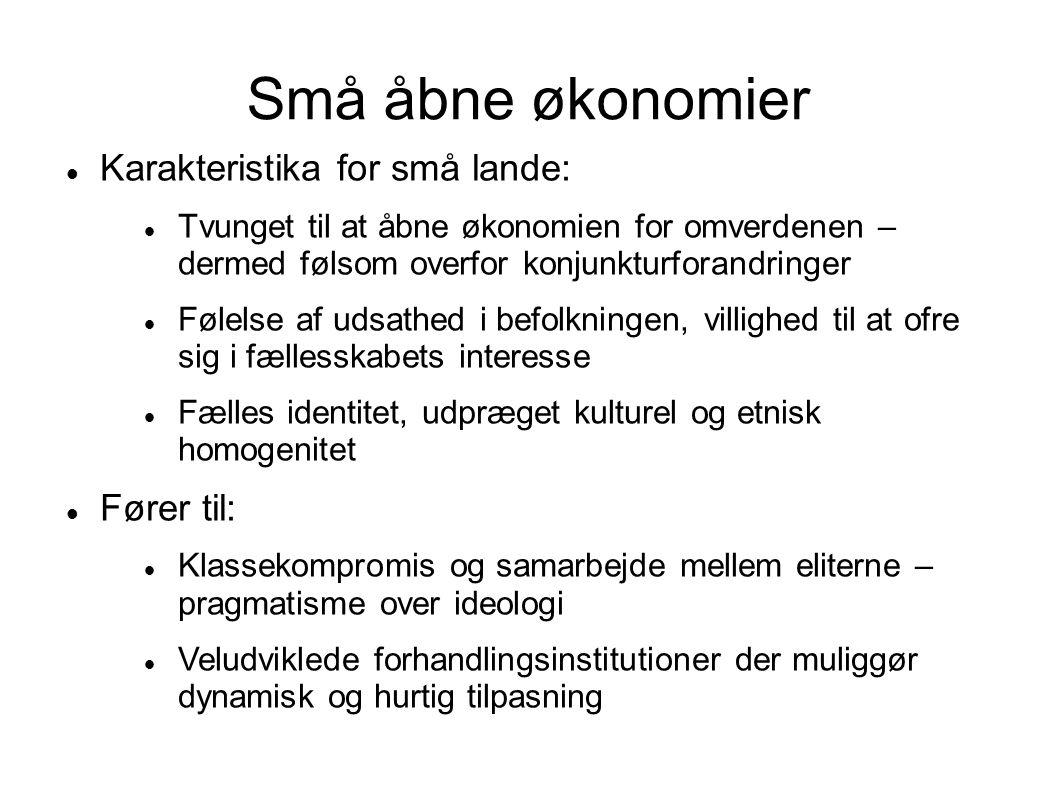 Små åbne økonomier Karakteristika for små lande: Fører til: